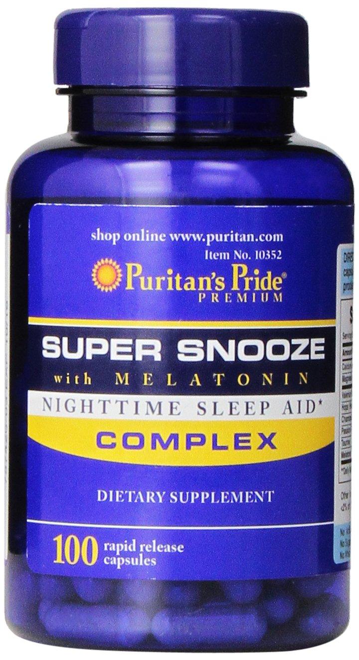 Puritans Pride Super Snooze with Melatonin Rapid Release Capsules,100 Count