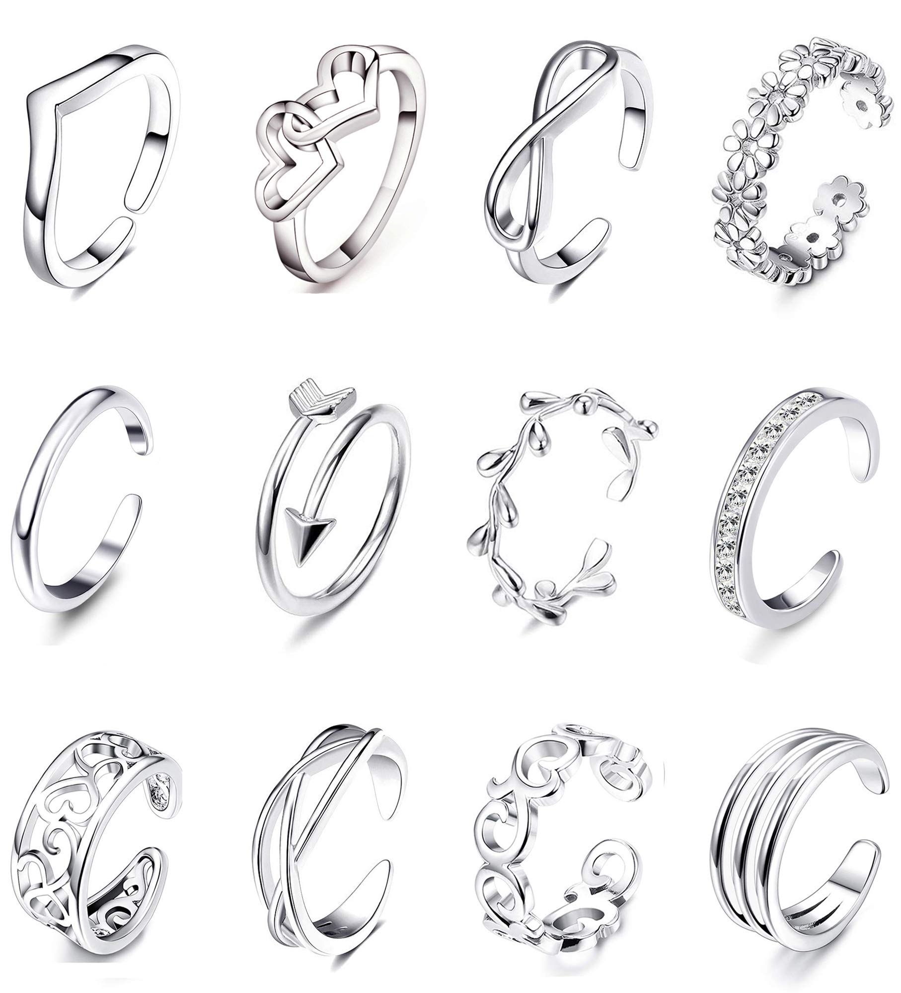 Adjustable Toe Rings for Women Summer Beach Rose Gold Silver Hypoallergenic Open Toe Ring Set Finger Foot Jewelry