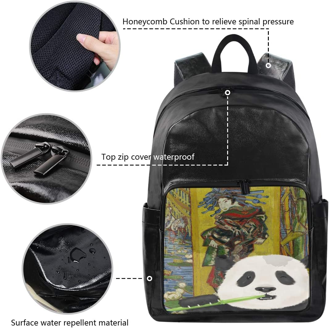 Van Goghs Oil Painting with Panda 12.5x9x17.5 Holds 12.5-inch Laptop Student Backpacks College School Book Bag Travel Hiking Camping Daypack for boy for Girl