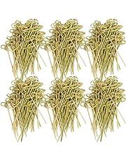 COM-FOUR® 300x Cocktail Sticks de madera de bambú con nudos, Party Picker con Asia-Style, 9 cm (300 piezas - 9cm con nudos)