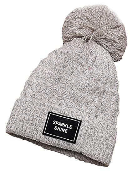 Vocni Women Winter Fleece Lined Cable Knit Ball Pom Skull Caps Cuff Beanie  Hats 61f9e729e6b