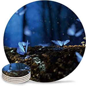 Absorbent Ceramic Drink Coasters for Table Decor, Mushroom And Butterfly Glow In the Night Heat-Proof Cups Place Mats for Wine Glasses Cups & Mugs, 4 PCS Set Round Coaster for Home or Bar Use