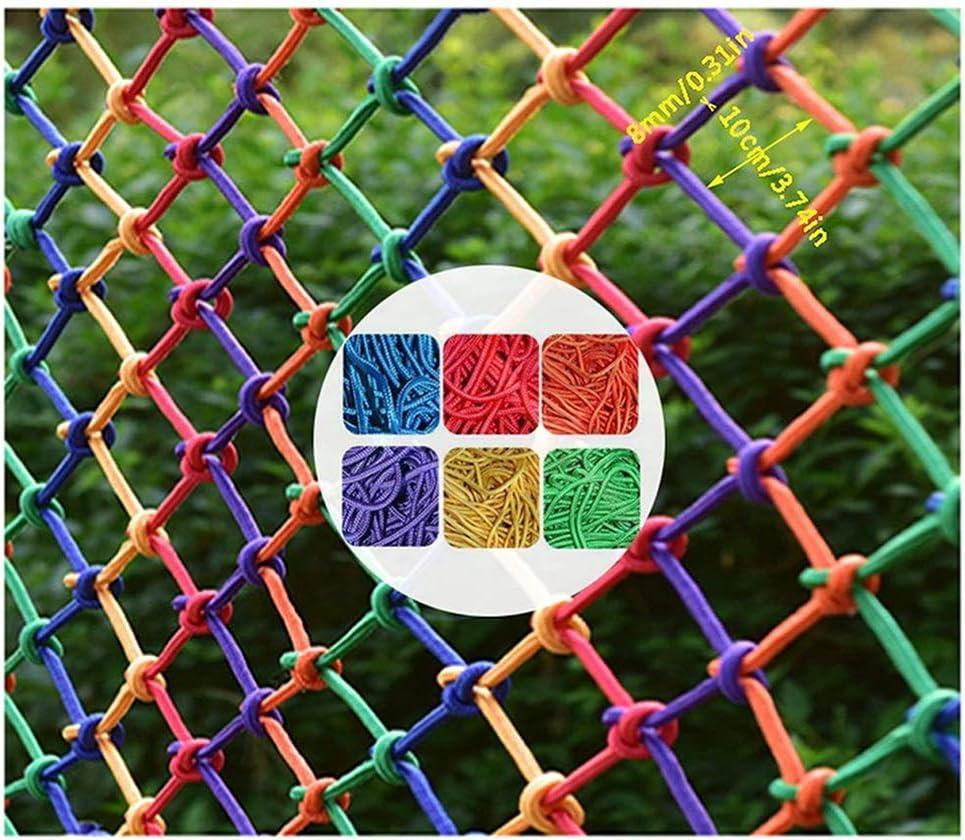 カラーロープネット/チャイルドセーフティネット保護ネット/ナイロンロープネット/幼稚園カラーデコレーションネット/家庭用階段バルコニー落下防止フェンスメッシュ (Size : 1*8m)  1*8m