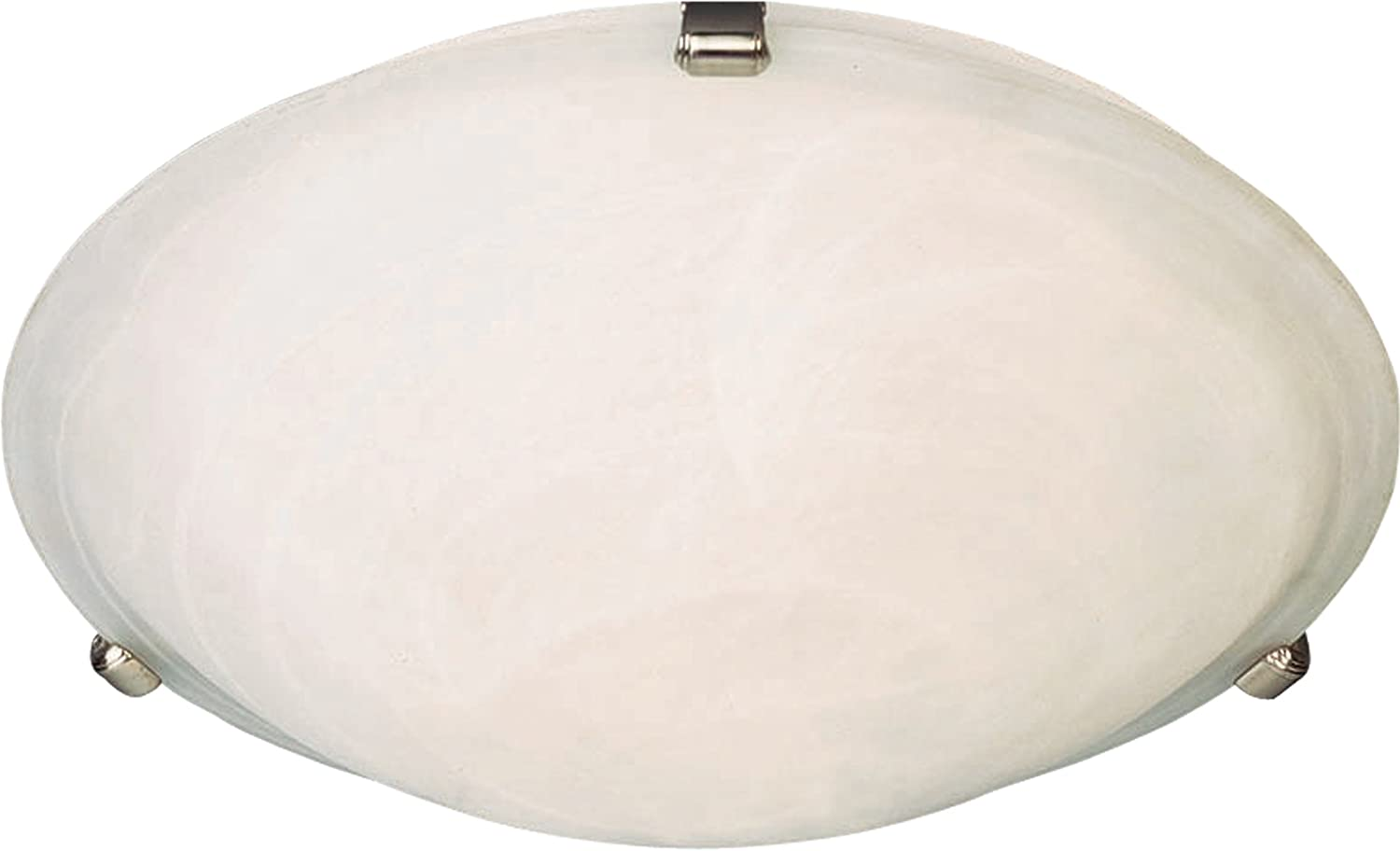 2700K Color Temp Satin Nickel Finish 1355 Rated Lumens Maxim 82681MRSN Malaga EE 3-Light Flush Mount 18W Max. Glass Shade Material Marble Glass GU24 Fluorescent Fluorescent Bulb Wet Safety Rating