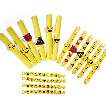 ONEDONE Emoji Emoji Pulsera Pulseras de Goma de Silicona, Juguetes Infantiles para Fiestas, Regalos de cumpleaños Divertidos Paquete de Pulseras Bolsa ...