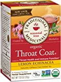 Traditional Medicinals Organic Throat Coat Lemon Echinacea Tea, 16 Tea Bags (Pack of 6)