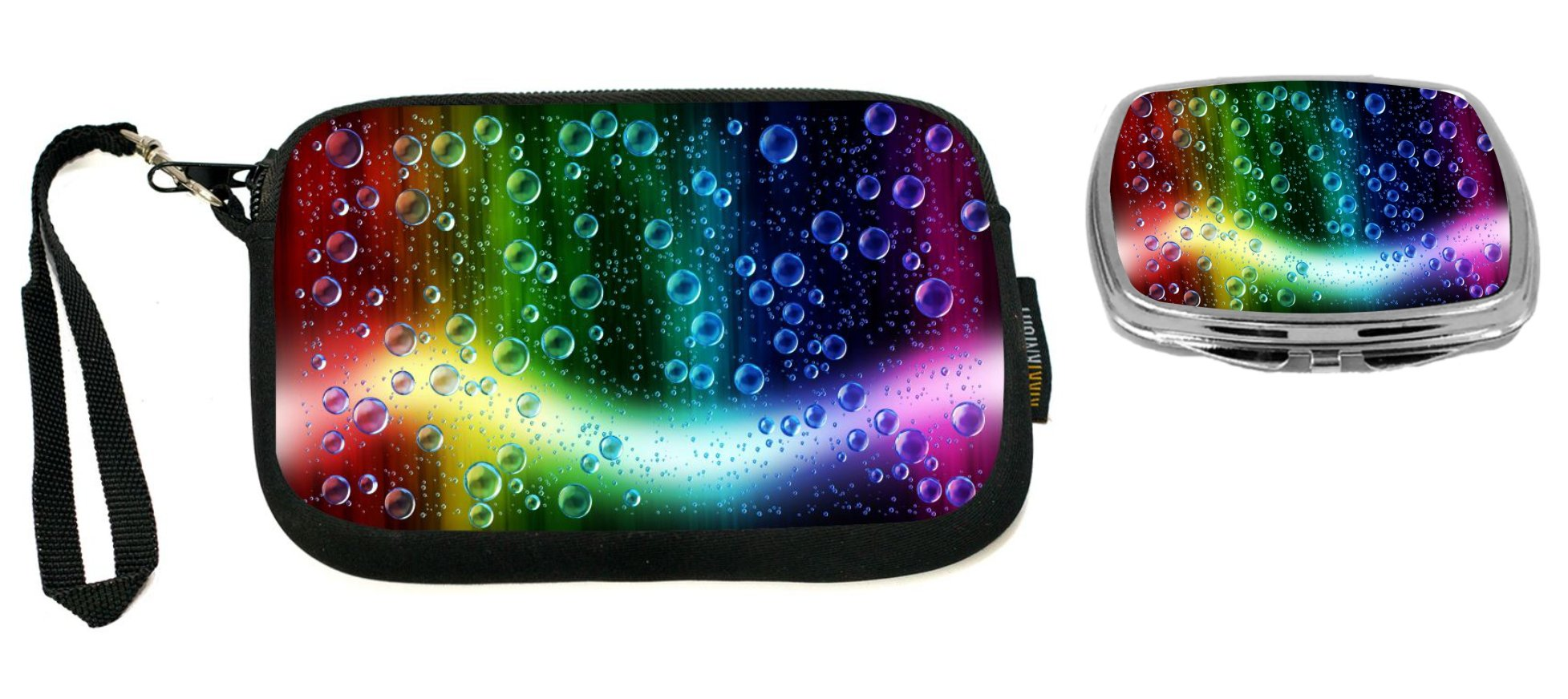 Rikki Knight Cheerful Colors Of Raindrops On The Window Design Neoprene Clutch Wristlet with Matching Square Compact Mirror