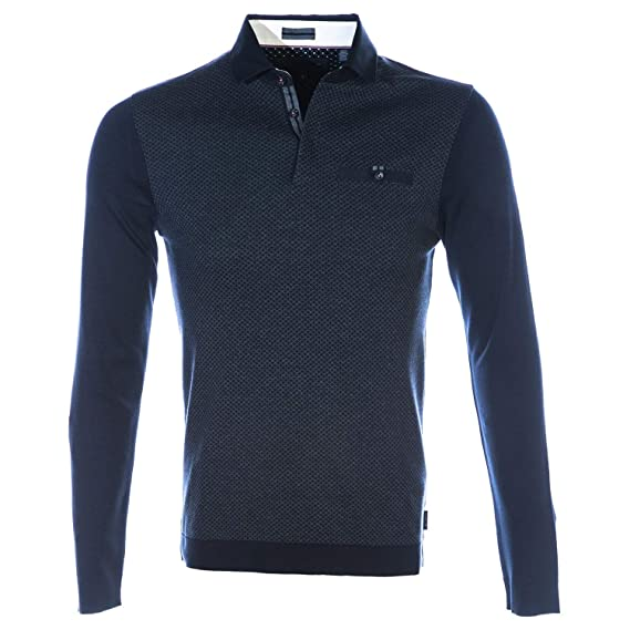 04227c43d058 Ted Baker Friend LS Ribstart Polo Shirt Navy Small (TED Size 2)   Amazon.co.uk  Clothing