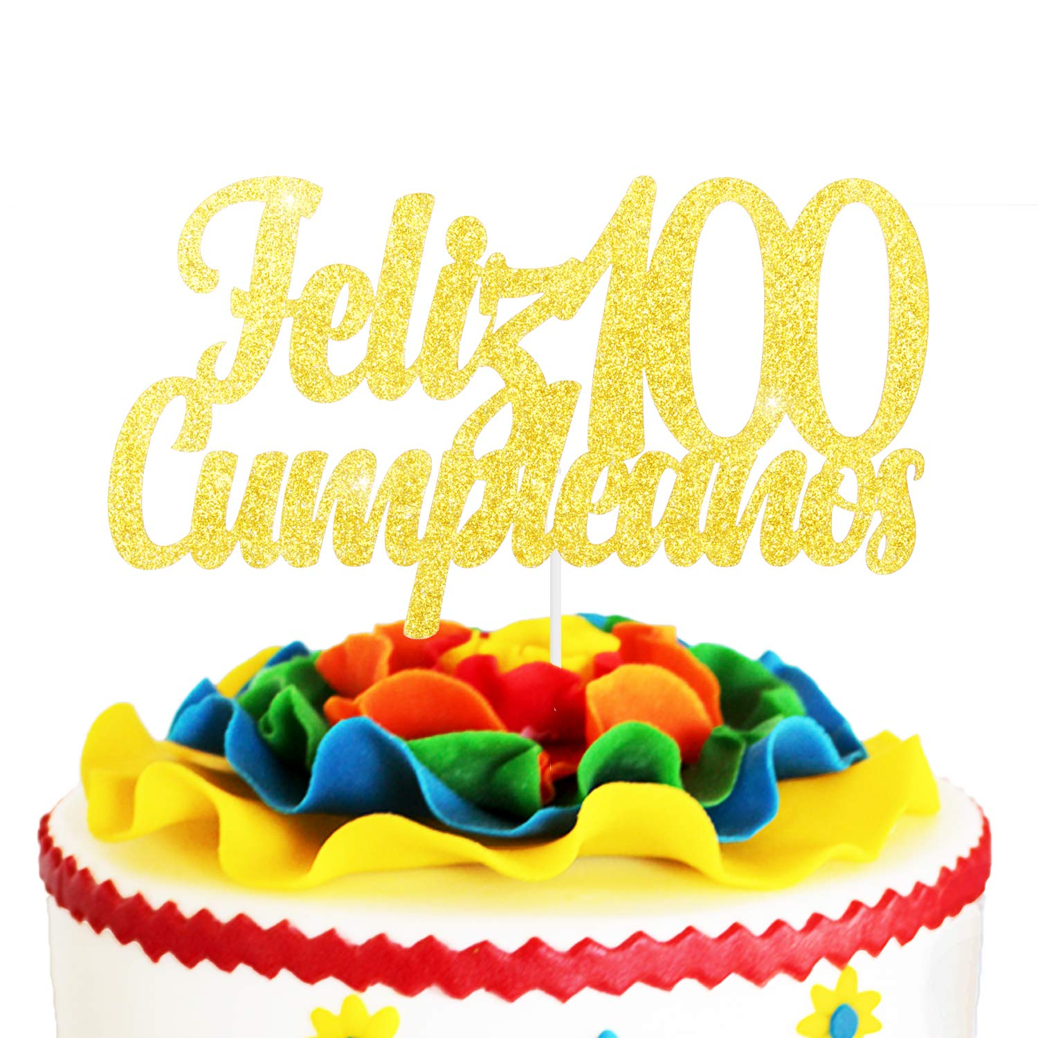 Fabulous Feliz Cumpleanos 100Th Birthday Cake Topper Gold Glitter Spanish Funny Birthday Cards Online Aboleapandamsfinfo