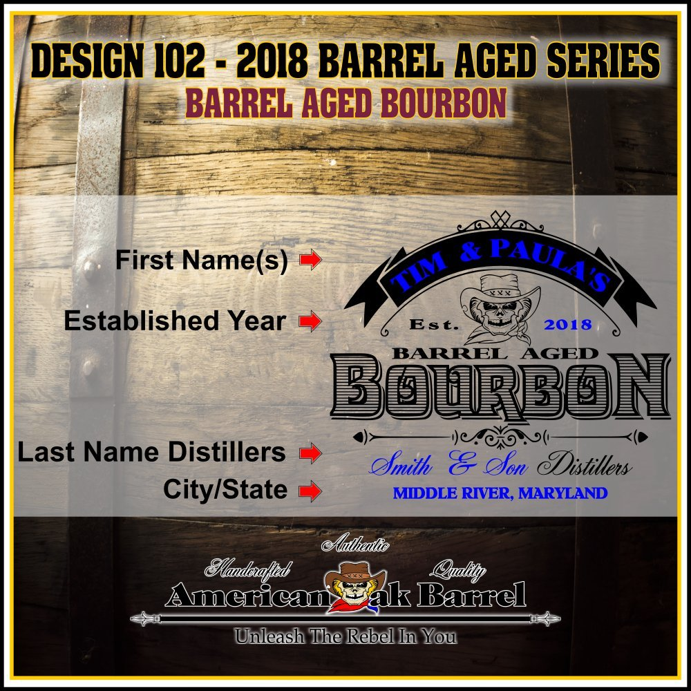 Personalized American Oak Bourbon Aging Barrel (102) - Custom Engraved Barrel From Skeeter's Reserve Outlaw Gear - MADE BY American Oak Barrel - (Natural Oak, Black Hoops, 5 Liter) by American Oak Barrel (Image #2)