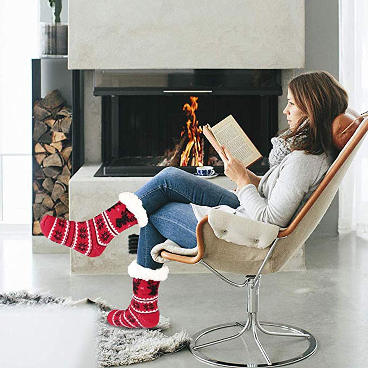 8 Paires Femmes Homme Bas de No/ël Chaussettes Slipper Chaud Confortable Fixget Chaussons Bas No/ël Famille Cadeau de No/ël pour Femmes Homme