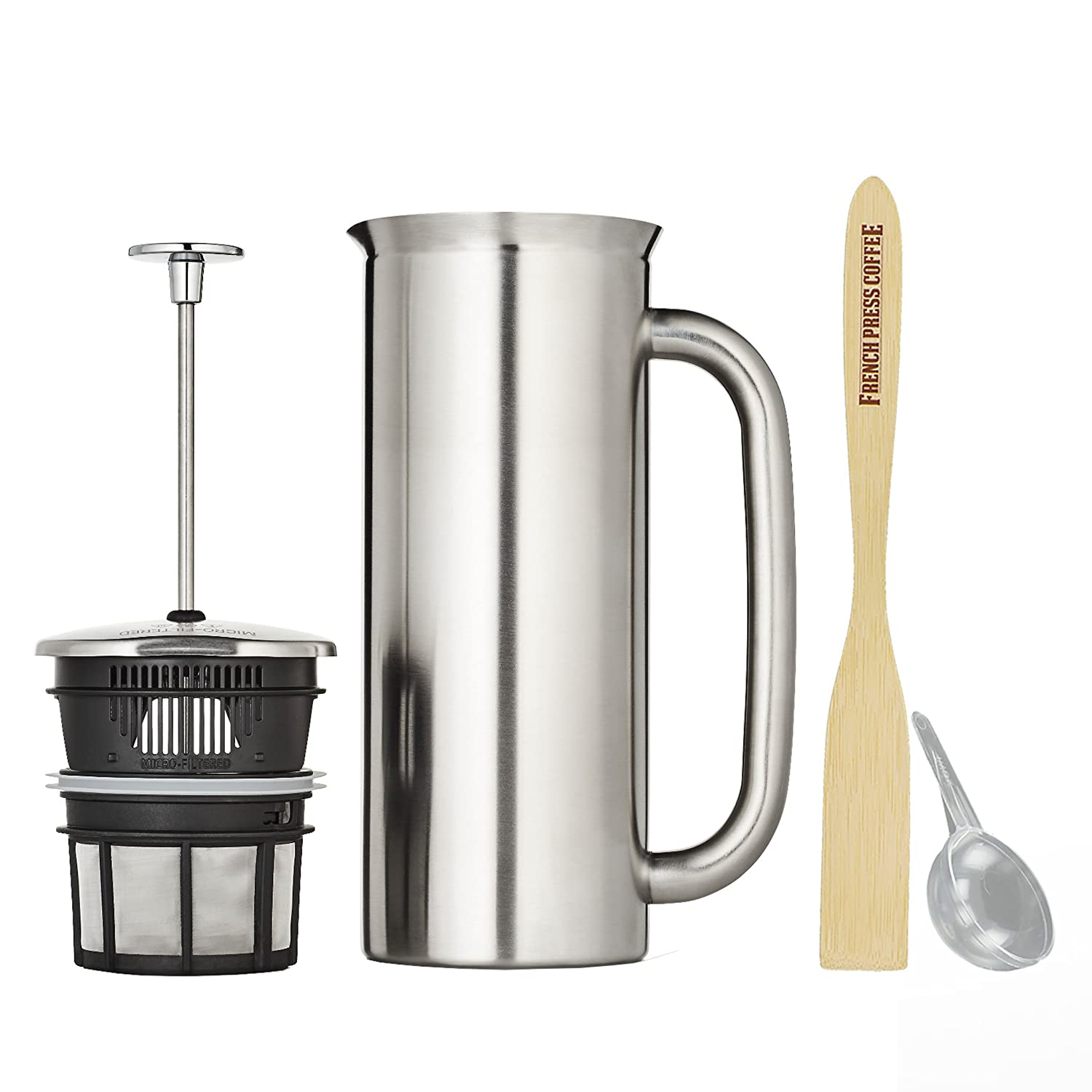Espro Press P7, Stainless Steel French Press, Double Wall, Vacuum Insulated (3-4 cups, 18 ounce, Polished) Bundle with Handcrafted Bamboo Paddle, Coffee Scoop