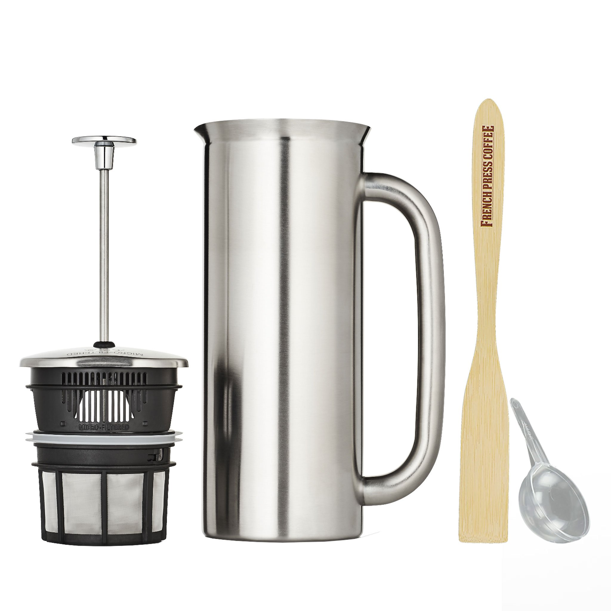 Espro Press Stainless Steel Coffee Press (6-8 cups, 32 oz) Bundle with Wooden Spoon, Double Wall, Vacuum Insulated, Brushed