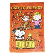 "PEANUTS SNOOPY GATHER FRIENDS FALL FLAG~SIZE 12"" x 18""~NEW"