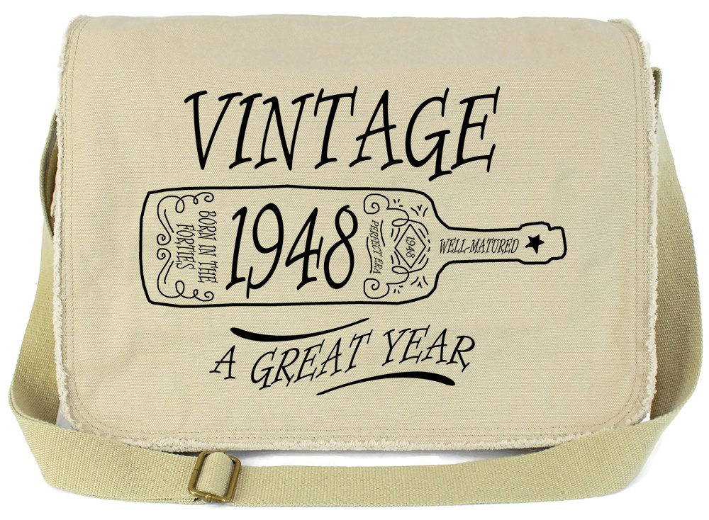 Tenacitee Aged Like a Fine Wine 1948 Putty Raw Edge Canvas Messenger Bag