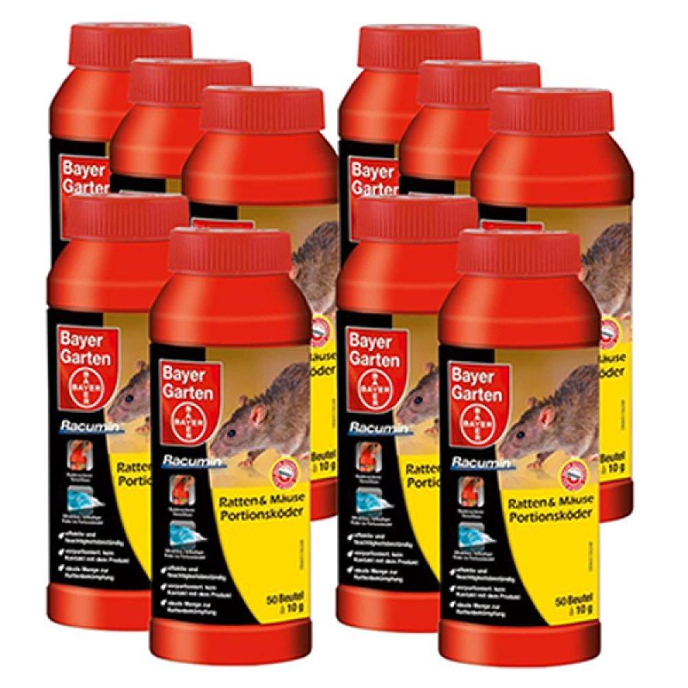 Bayer Ratten Mäuse Portionsköder 10 Packungen zu je 500 g (10 x 50 Pads)