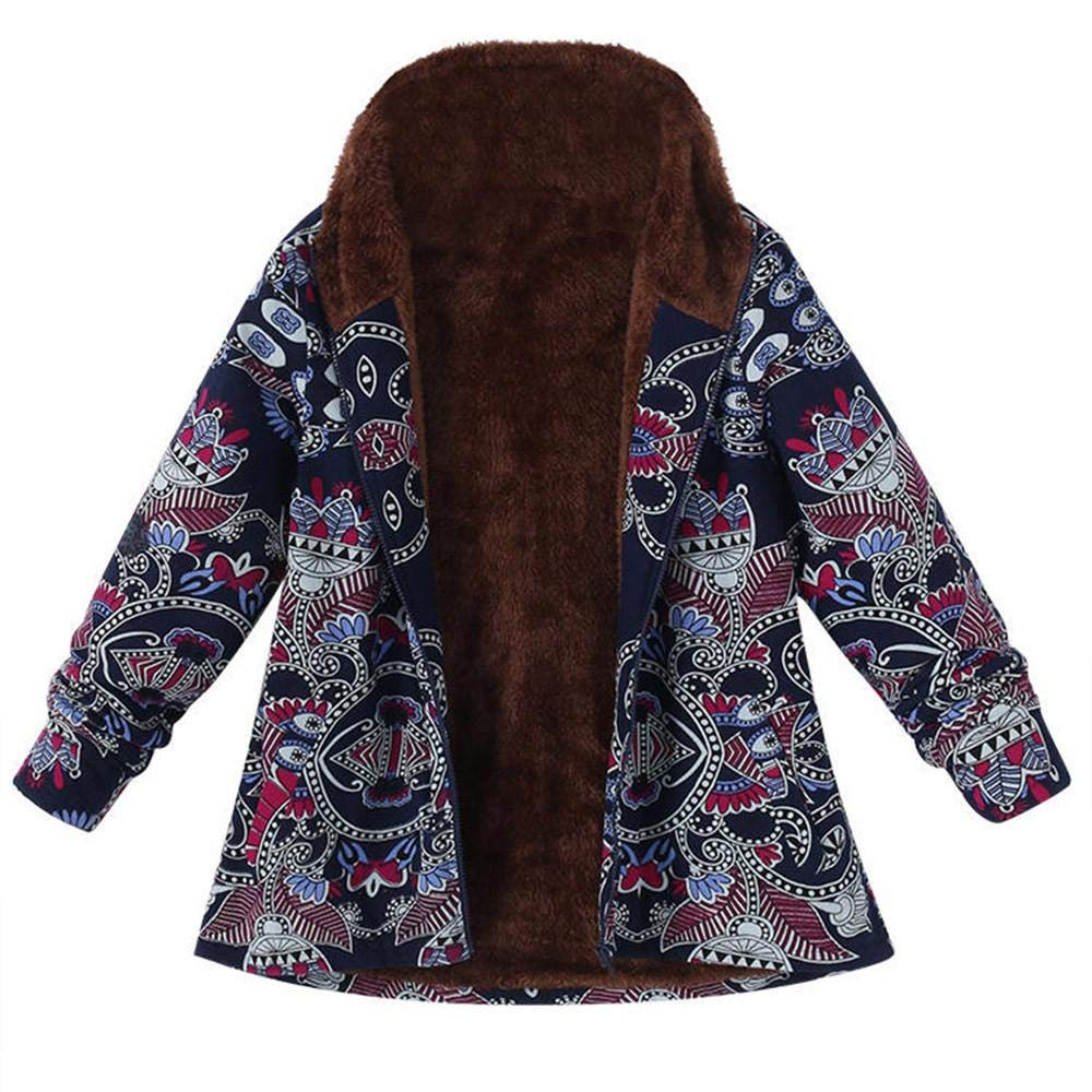 Redshop Cheaper Coats Womens Winter Warm Outwear Floral Print Hooded Pockets Vintage Oversize Parka Tops