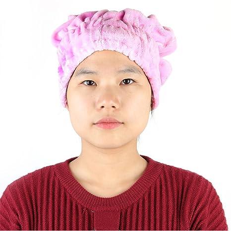 sourcingmap Cap cabello seco Hotel Spa polar de coral Banda elástica botón de cierre toalla de