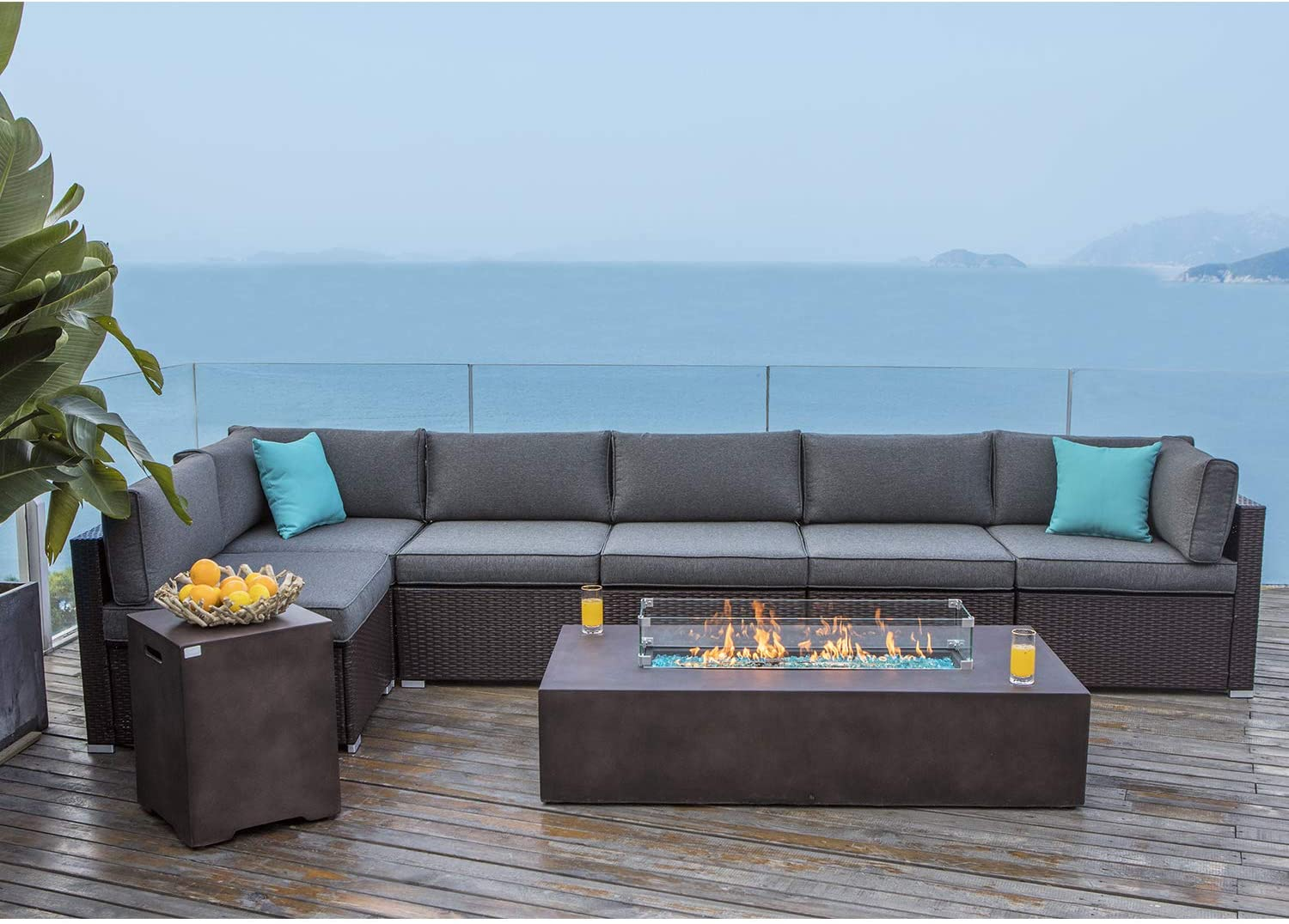 cosiest 8 piece propane firepit table outdoor wicker sectional sofa chocolate brown patio furniture set w 56 x 28 inches rectangle bronze fire table