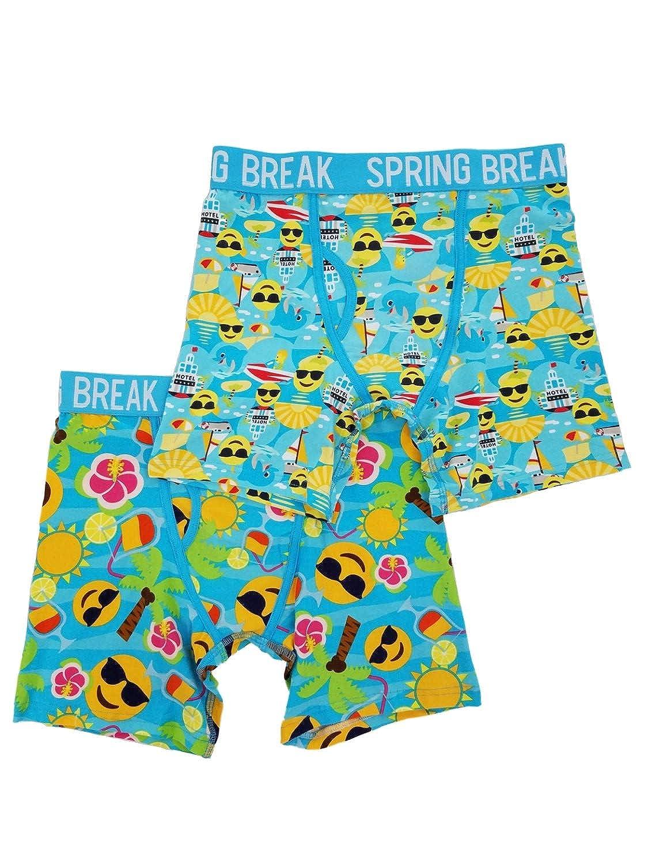 Mens 2-Pack Spring Break Emoji Boxer Briefs Boxers