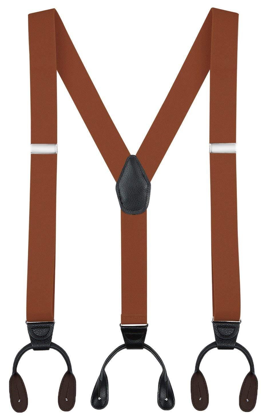 Buyless Fashion 48'' Men's Elastic Adjustable 1 1/2'' Y Back Suspender Button End-Camel
