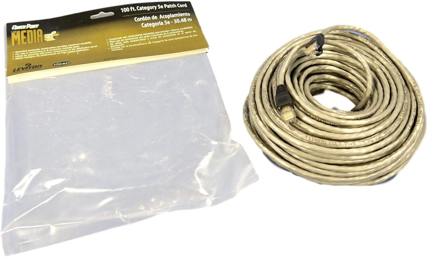 Leviton Gray Cat 5e 100 Ft Patch Cord Network Cable Booted Cat5e 5G455-100G