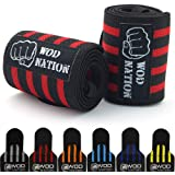 """Wrist Wraps by WOD Nation - Wrist Support Straps (12"""", 18"""" or 24"""") - Fits Both Men & Women - Strength Training, Weightlifting, & Powerlifting - Lift Heavier Weight + FREE Carrying Bag Included"""
