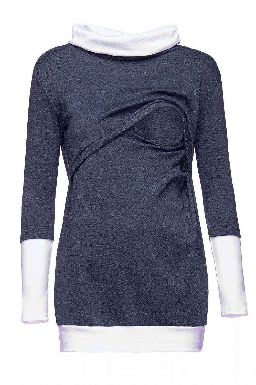Happy Mama Kontrastdetails 348p Damen Sweatshirt Stillzeit Top Zweilagiges
