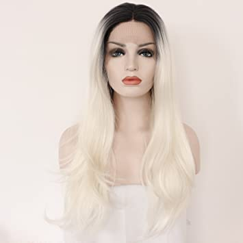 ff56978b2 ... Fennell Ombre Platinum Blonde Synthetic Lace Front Wigs For Women 2  Tone Color Black Roots Long Natural Natural Straight Heat Resistant  Synthetic Hair ...