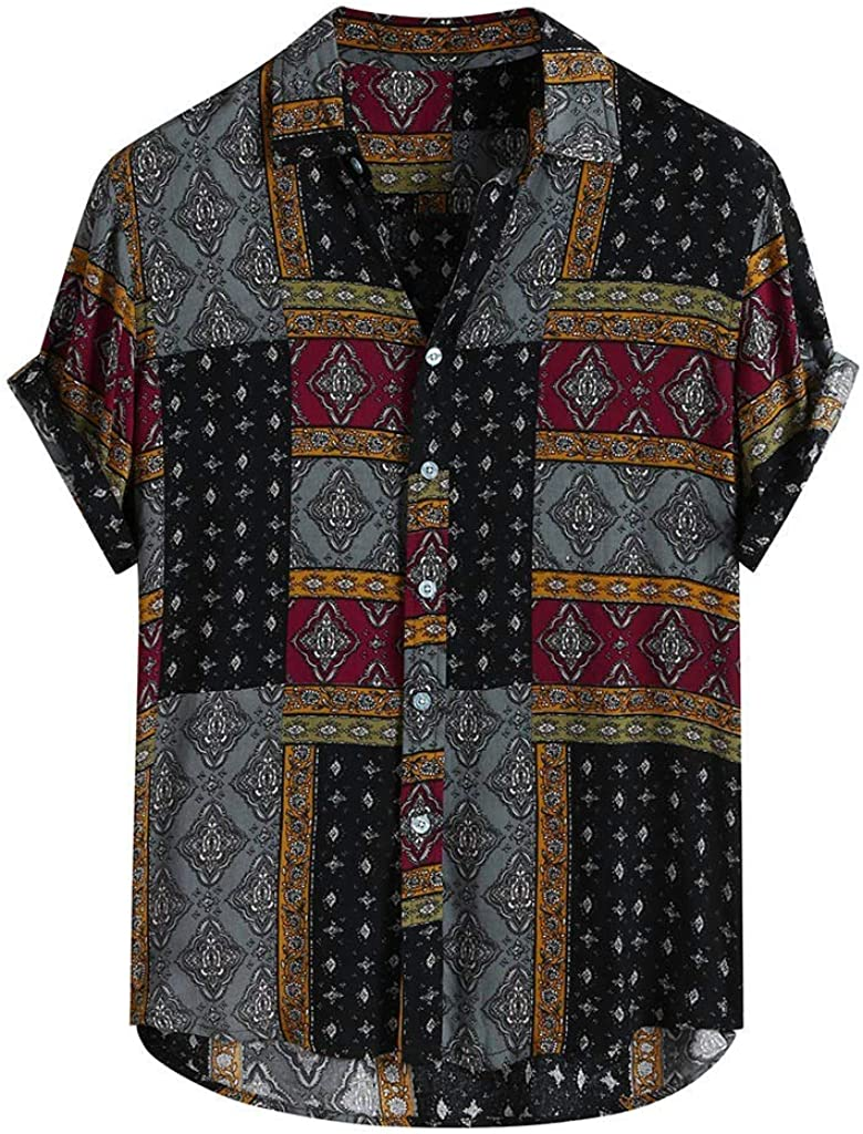 VEFSU Fashion Mens Printed Loose Short Sleeve Casual Buttons Shirt Tops