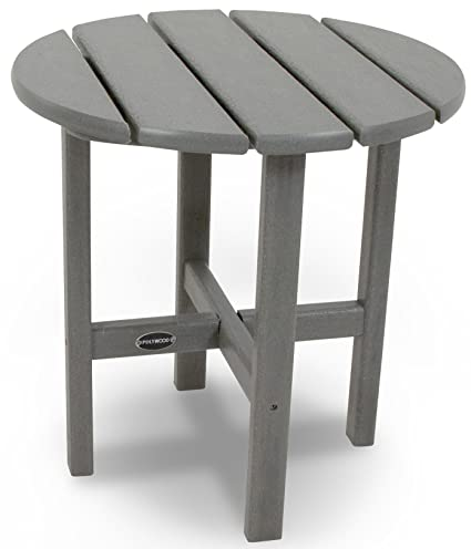 POLYWOOD RST18GY Round 18u0026quot; Side Table, Slate Grey