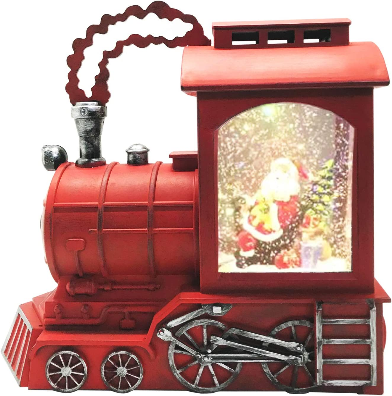 Lightahead Musical Light up Swirling Glitter Train Engine with Santa Sitting Inside Figurine, Warm White LED Light and 8 Melodies