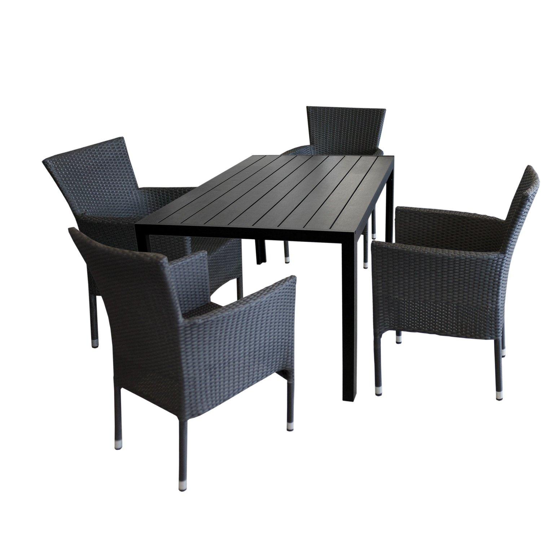 5tlg Gartengarnitur Gartentisch Polywood 150x90cm Schwarz 4x