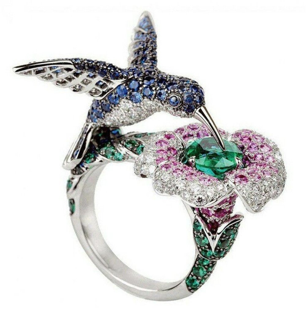 Yupha 6.5CT Emerald Sapphire Animal Bird 925 Silver Ring Wedding Engagement Size 6-10 (7)