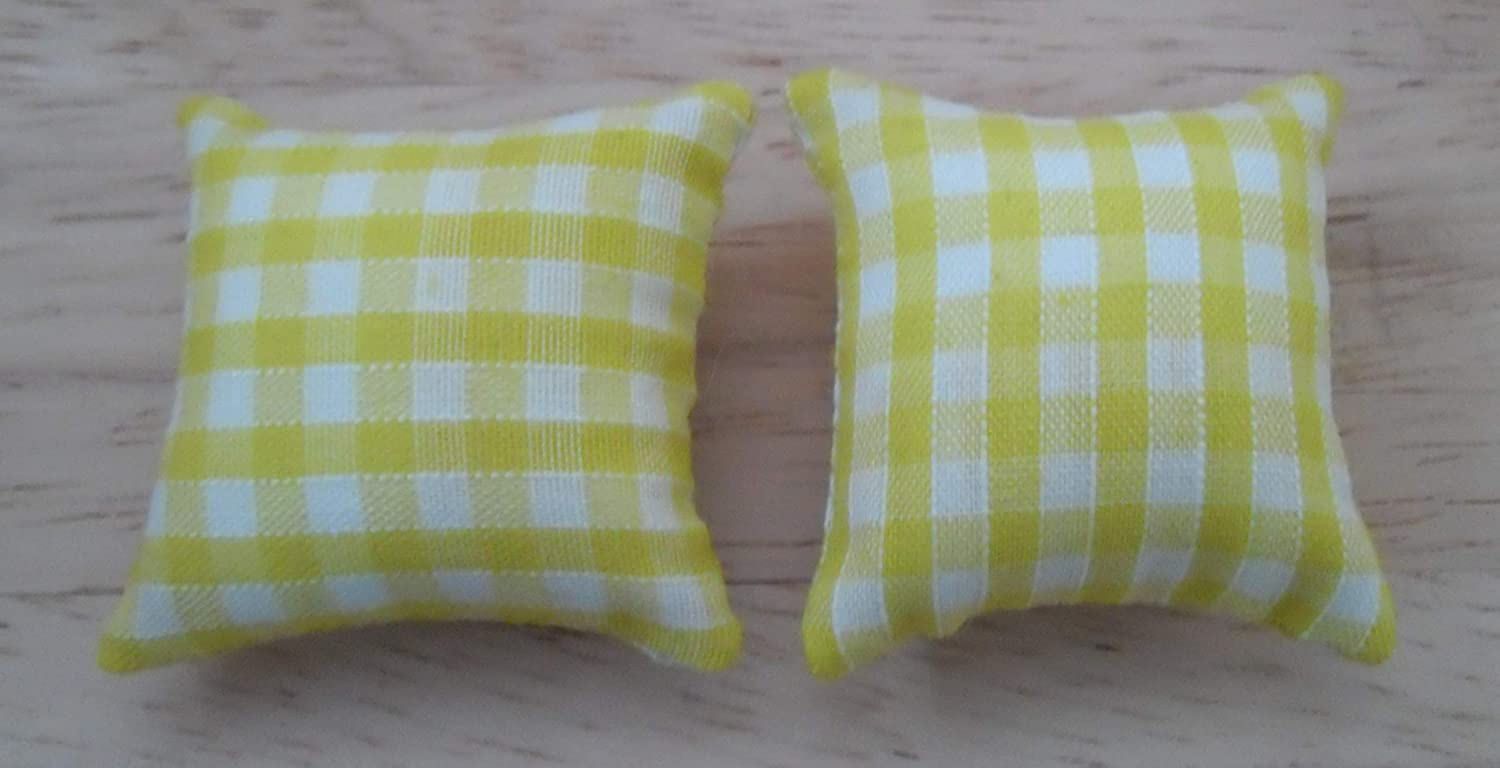 Check Design in Yellow /& White 1//12th Scale Dolls House Printed Fabric Cushions