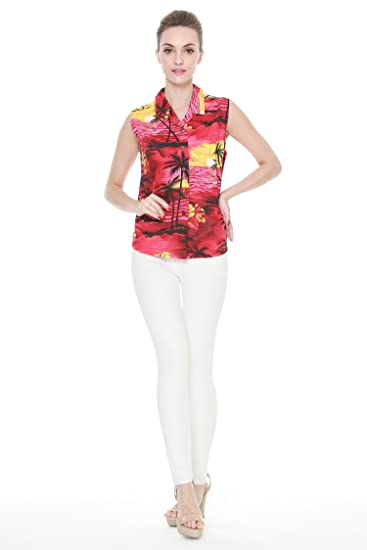 3ba4fb2b Palm Wave Women's Hawaiian Aloha Shirt in Sunset Red M: Amazon.co.uk ...