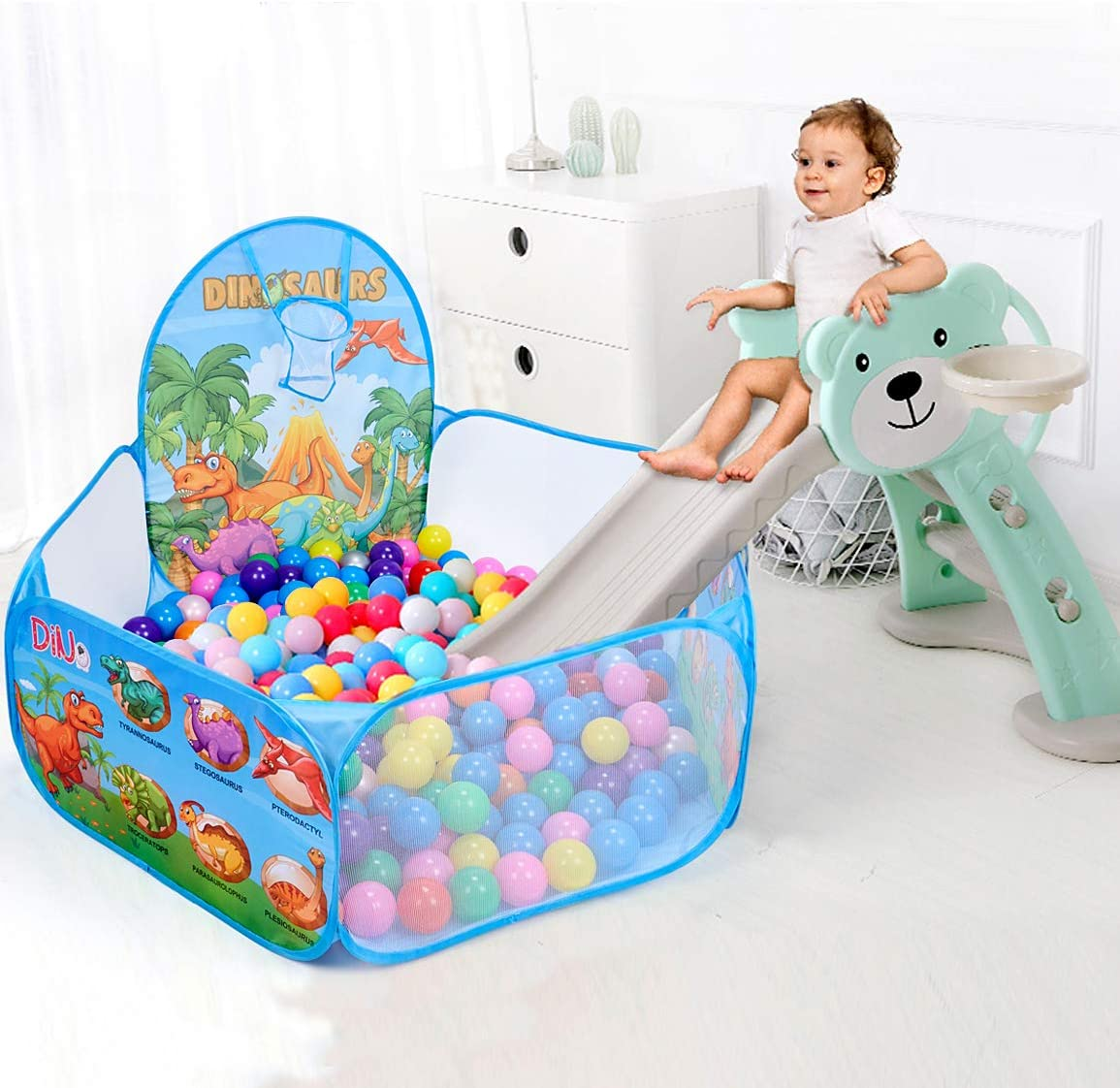 Balls Not Included Engineering Car Print Kids Ball Pit with Basketball Hoop 4 Ft//120CM Pop Up Toddler Ball Ocean Pool Tent for Girls Boys Outdoor Indoor Play with Zipper Storage Bag