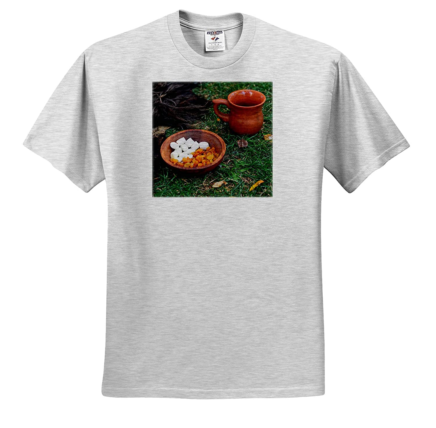 Raisins 3dRose Alexis Photography T-Shirts Still-Life Marshmallow in a Ceramic Bowl on a Grass Covered Ground