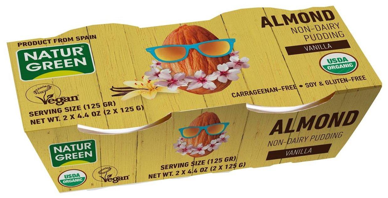naturgreen, organic almond vanilla non-dairy pudding, vegan, 6 packs of 2 cups (4.4oz each)