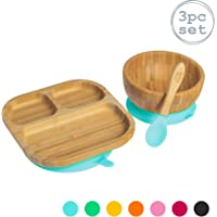 Tiny Dining Children's Bamboo Dinner Plate and Cereal/Dessert Bowl with Stay Put Suction & Soft Tip Spoon