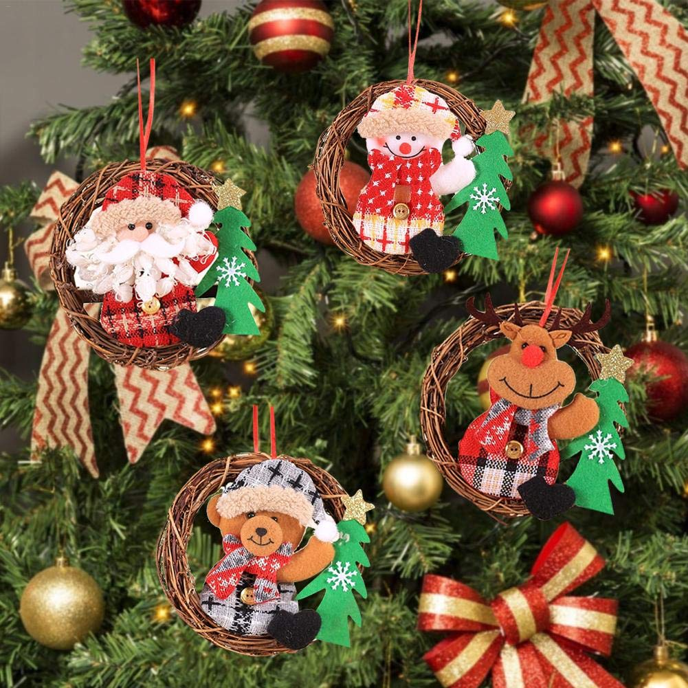 PoeticHouse Corona di Natale , Appeso Figurine Rattan Decorazione per albero di Natale Porta per ghirlanda di Natale creativa nice-looking