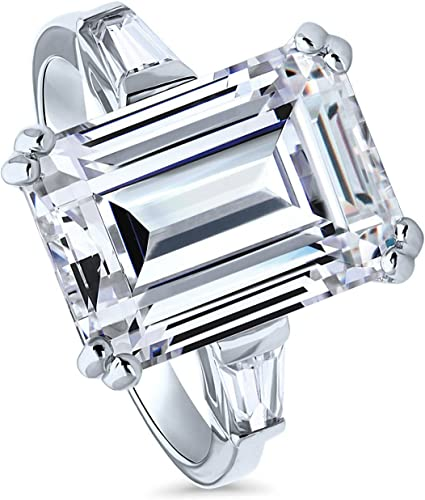 BERRICLE Rhodium Plated Sterling Silver Emerald Cut Cubic Zirconia CZ Solitaire Engagement Ring 2.17 CTW