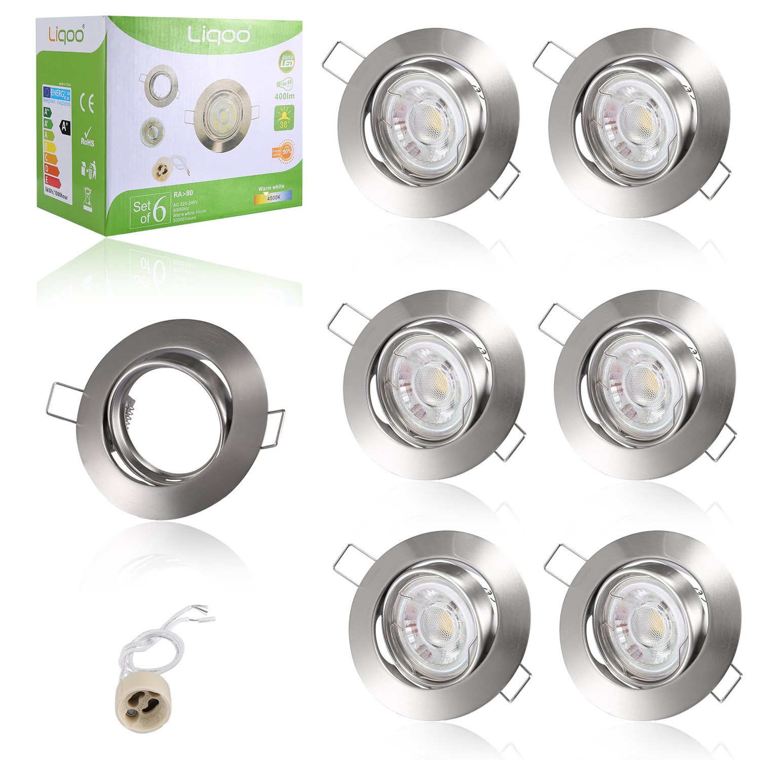 Liqoo 6 X Led Gu10 Recessed Ceiling Lights Spotlights Downlights 5w Brushed Satin Chrome Light Pull Cord Switch Amazoncouk Lighting White 4000 4500k 420lumen Cob 45w Incandescent Bulb Equivalent Ip20 Protection For