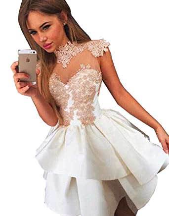 YOUTODRESS White Homecoming Dresses Gold Applique Knee Length Party Prom Dress at Amazon Womens Clothing store: