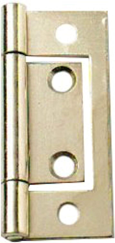 HARDWARE FOR YOU LTD Pack of 2 Non MORTICE BI-FOLD Flush Hinge BRSS 50MM
