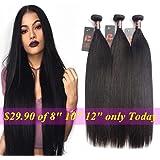 Mink 8A Virgin Malaysian Straight Hair 3 Bundles Deals 100% Unprocessed Virgin Human Hair Weaving Remy Human Hair Extensions 300g Natural Black (14 16 18inches, Natural Color)