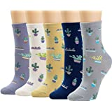Womens Socks Cactus Crew Socks Gifts Cotton Long Funny Socks for Women Novelty Funky Cute Cartoon Socks 5 Pairs WCS1…