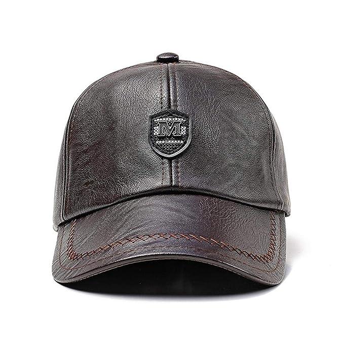 c9ad3c97f77e Storagc Cuffia da uomo paraorecchie in pelle berretto da baseball invernale  outdoor caldo e antivento cappello di mezza età cappello caldo autunno e ...