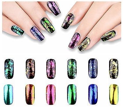 Uñas con purpurina 6 piezas/juego camaleón holográfica espejo uñas Flake lentejuelas cristal roto efecto. Pasa ...