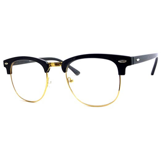 f66ce441b8cd Image Unavailable. Image not available for. Color  VINTAGE Inspired Classic  Half Frame Clear Lens Glasses ...